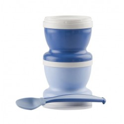 Petits pots avec cuillère en bleu