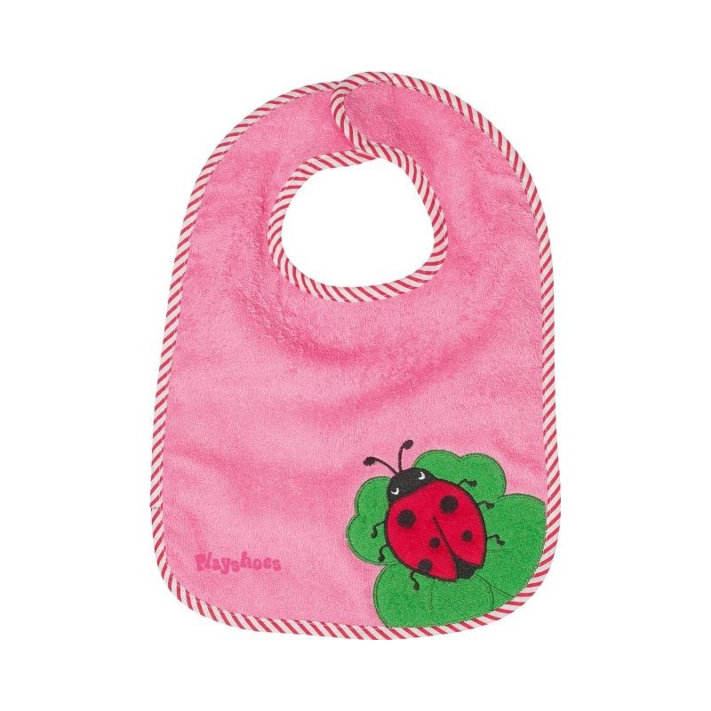 Bavoir rose motif : coccinelle