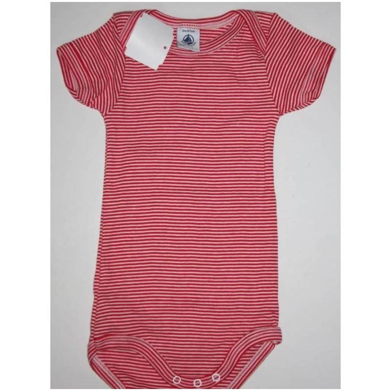Body rayé rouge en coton 6 mois Petit Bateau