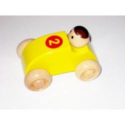 Voiture avec chauffeur tout en bois jaune