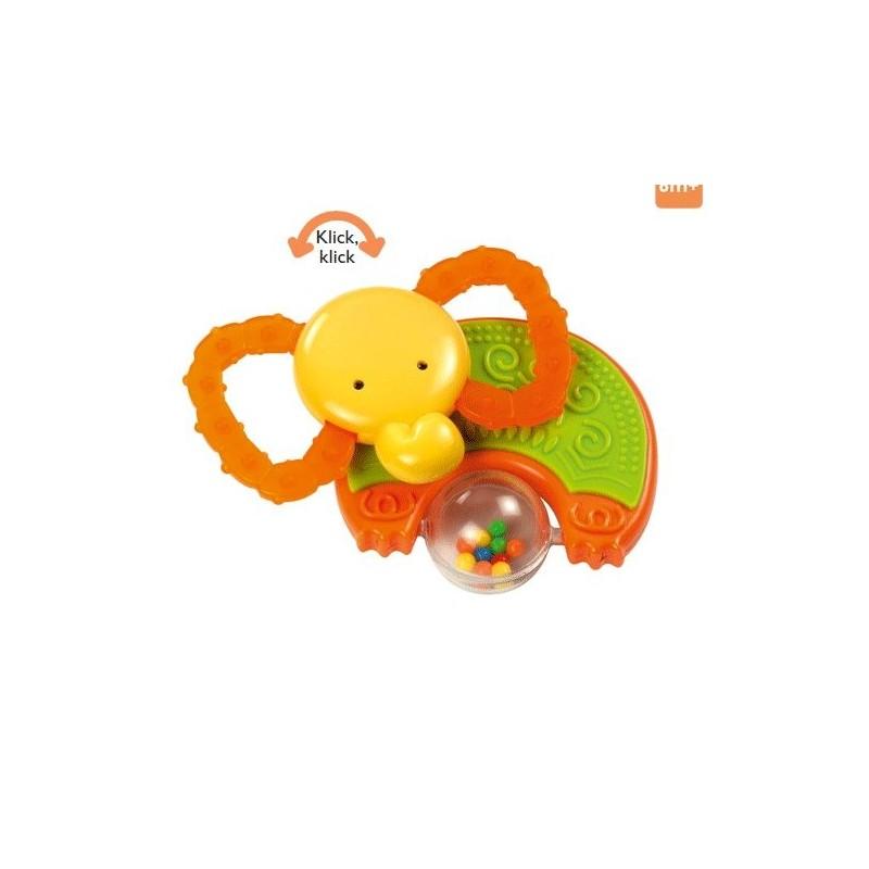 Hochet éléphant orange, vert et jaune