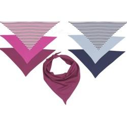 Bavoir bandana  rayé rose et blanc