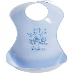 Bavoir en plastique 'ours' bleu