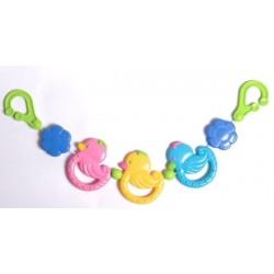 Chaine de poussette avec hochets colorés Canards profils