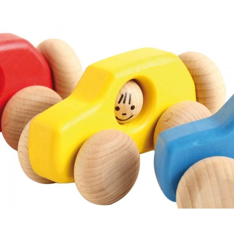 Voiture 4x4 en bois  jaune Ecodis