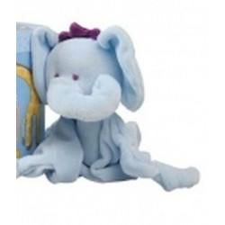 Doudou plat 4 noeuds  'Eléphant bleu'