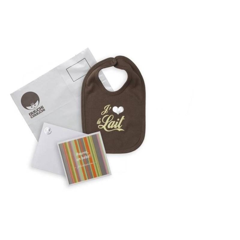 Kit de félicitations avec bavoir 'J'aime le lait'