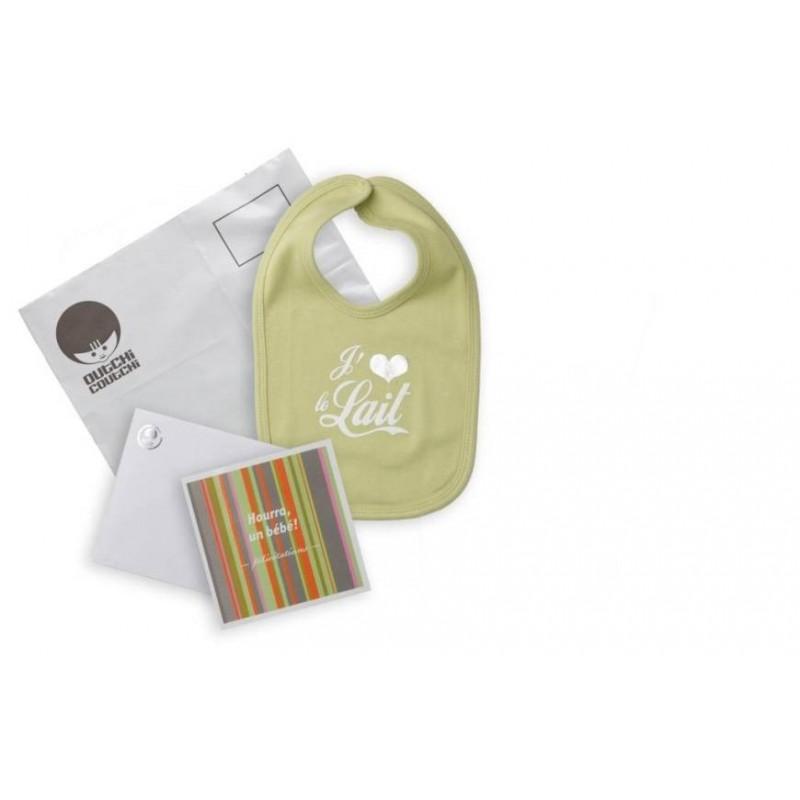 Kit de félicitations avec bavoir vert 'J'aime le lait' Outchi Coutchi