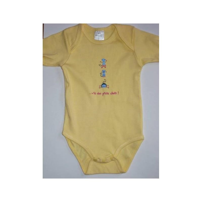 Body jaune bébé en coton 6 mois