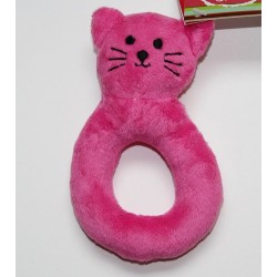 Hochet anneau chat en velours rose