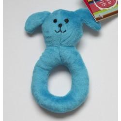 Hochet anneau chien en coton bleu