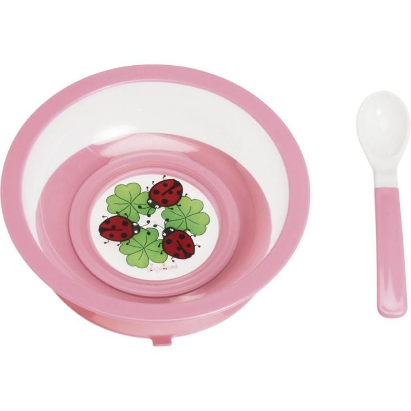 Assiette anti-dérapante avec ventouse  Cuillère assortie