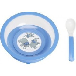 Assiette bleue anti-dérapante  avec ventouse et cuillère
