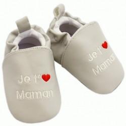 Chaussons gris 'je t'aime maman'  0-6 mois