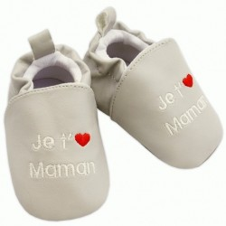 Chaussons gris 'je t'aime maman'  6-12 mois