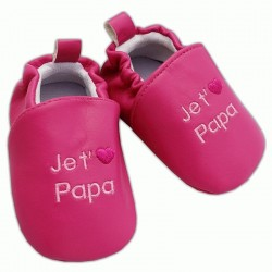 Chaussons rose fushia 'je t'aime papa'  6-12 mois