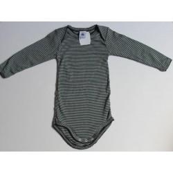 Body rayé noir en coton 12 mois