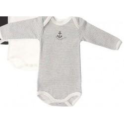 Body rayé noir en coton 18 mois