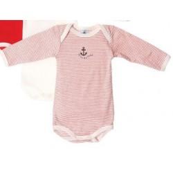 Body rayé rouge en coton 12 mois