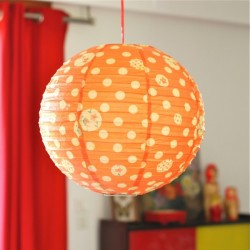 Lampion en papier  motif: pois orange