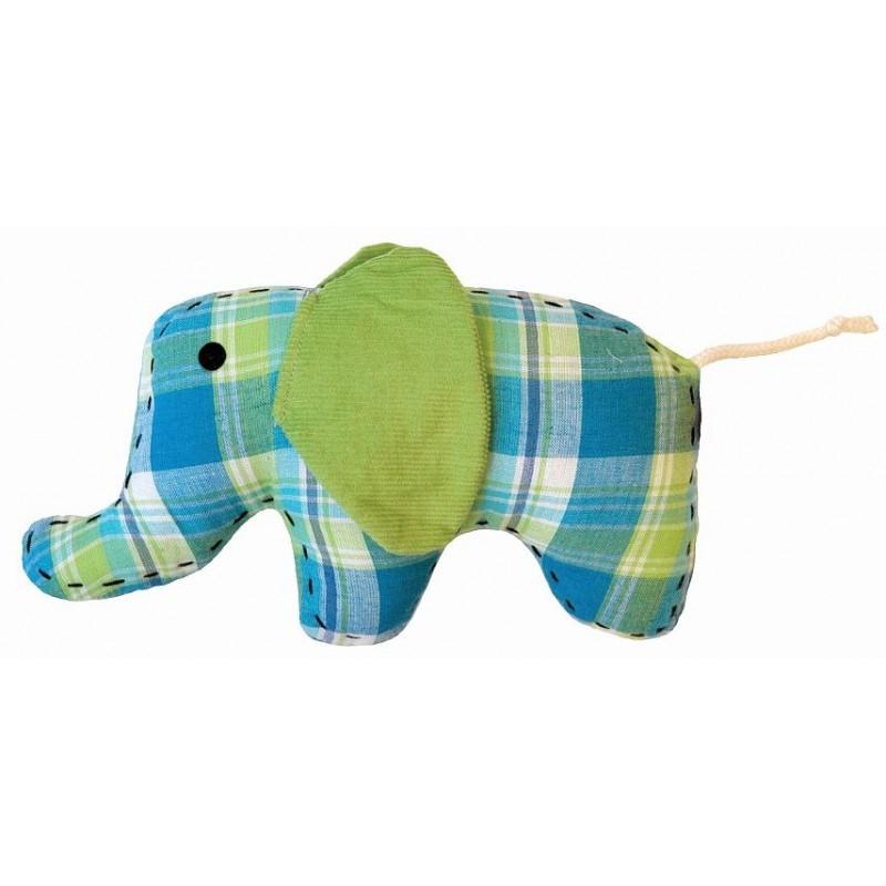 Doudou petit éléphant bleu-vert