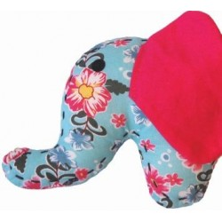 Doudou petit éléphant fleuri bleu