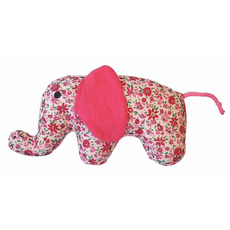 Doudou petit éléphant fleuri rose