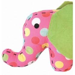 Doudou petit éléphant rose à pois colorés