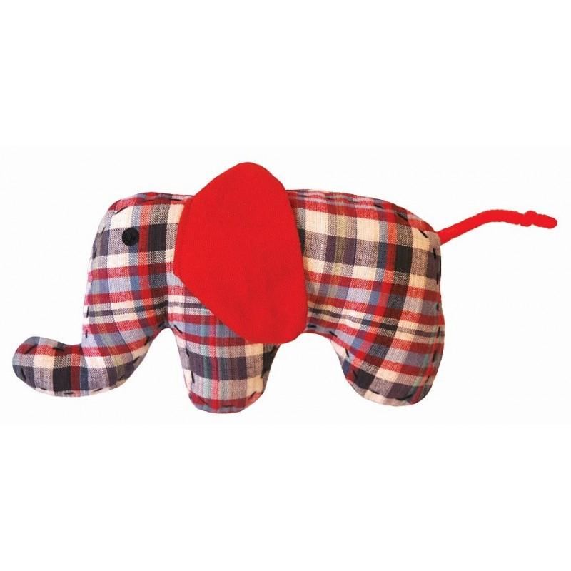 Doudou petit éléphant rouge-bleu