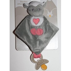 Doudou attache sucette gris-rose
