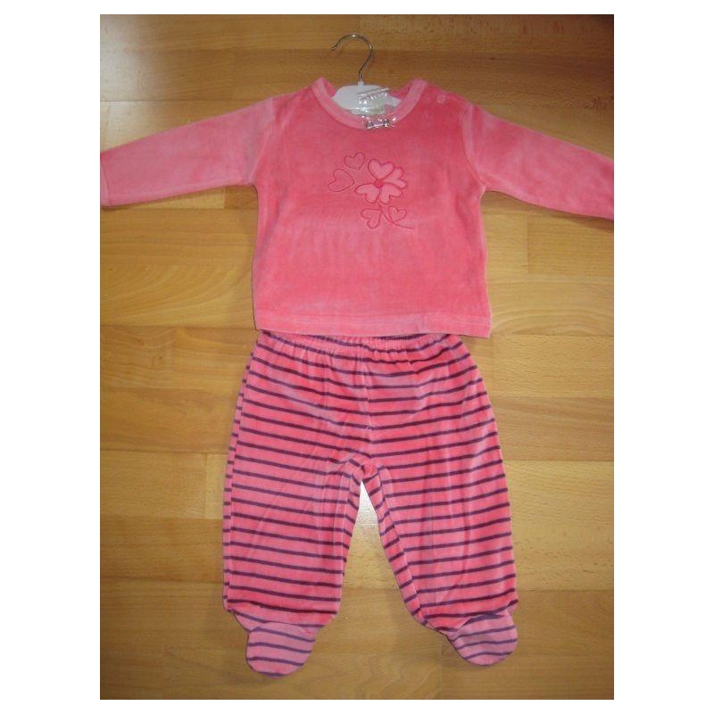 Pyjama en velours, pantalon avec 'pieds' 9 mois