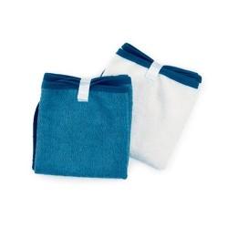 2 serviettes à langer  Blanc/Bleu