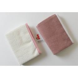 2 serviettes à langer  Blanc/Rose