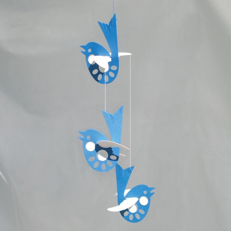 Mobile 'Oiseaux en bleu'