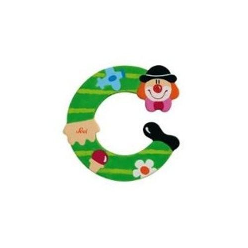 Lettre clown C en bois