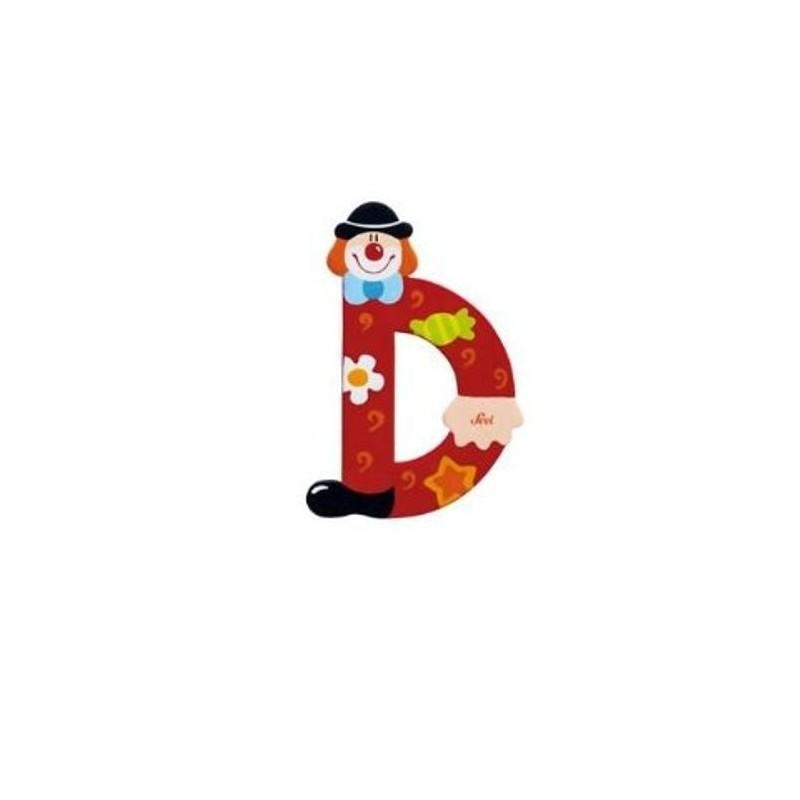 Lettre clown D en bois