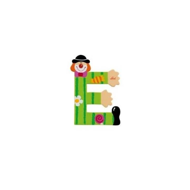 Lettre clown E en bois