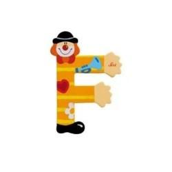 Lettre clown F en bois