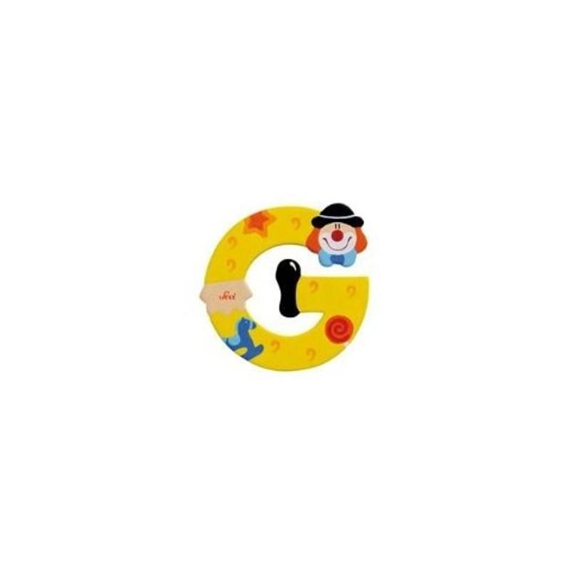 Lettre clown G en bois