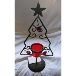 Photophore de Noël  sapin en rouge