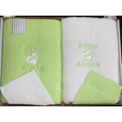 Serviettes de toilette (vert) coffret Fruit de ma passion