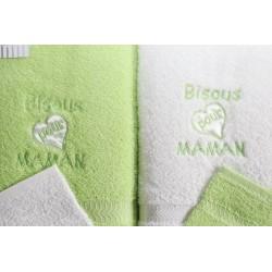 Serviettes de toilette (vert) coffret Fruit de ma passion