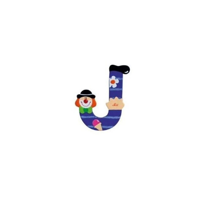 Lettre clown J en bois