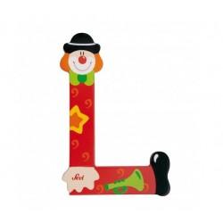 Lettre clown L en bois