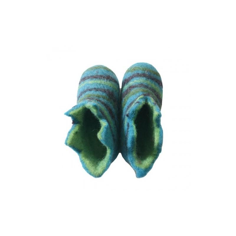 Chaussons 1er âge en feutre - bleu/vert