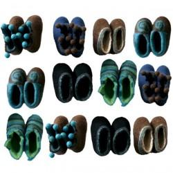 Chaussons 1er âge en feutre - bleu marine/marron
