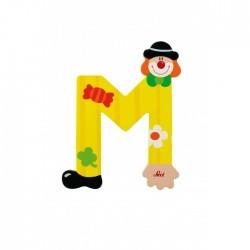 Lettre clown M en bois