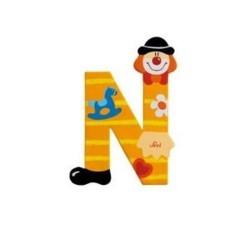 Lettre clown N en bois