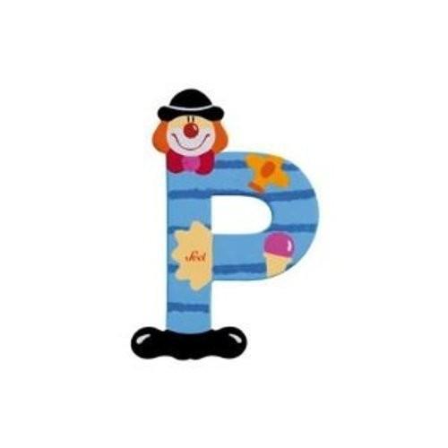 Lettre clown P en bois