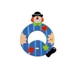 Lettre clown Q en bois